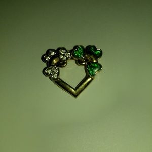 Gold Toned Heart with Green & Clear Hearts Pin